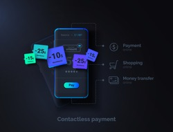 Contactless payment. Mobile phone on a black background with a payment system interface. Online money transfer. Modern vector illustration.