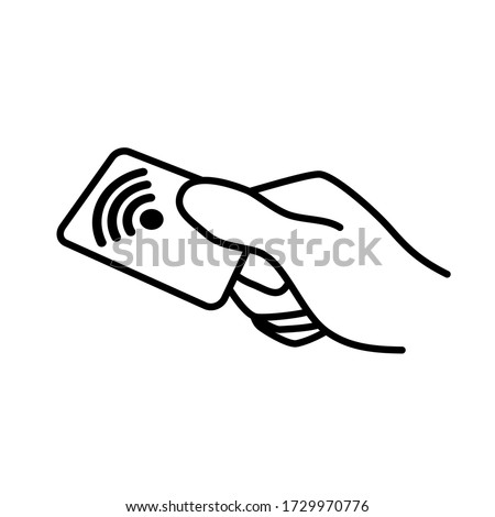 Contactless payment. NFC technology wireless pay credit card sign, symbol, icon. Vector illustration