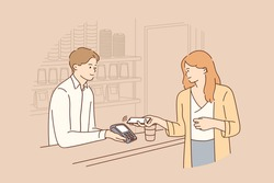 Contactless payment, online transaction concept. Young smiling woman cartoon character holding smartphone close to electronic payment machine while paying for food and drinks in cafe illustration