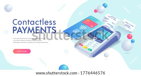 Contactless payment via smartphone isometric abstract banner concept. 3d payment machine, mobile phone with credit card, fingerprint. Success cashless NFC payment transaction. Vector illustration.