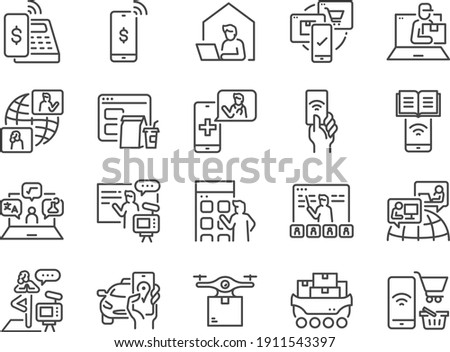 Contactless society line icon set. Included the icons as untact, online, shopping, e-commerce, and more. ストックフォト ©