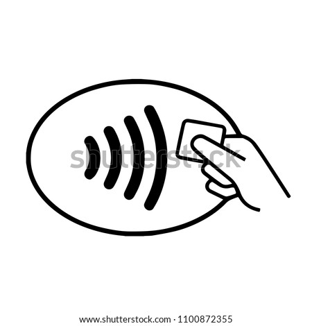 Contactless wireless pay sign logo. NFC technology contact less credit card.