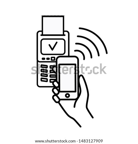 Contactless wireless pay sign logo. Phone touch nfc payment vector concept. Online transaction.