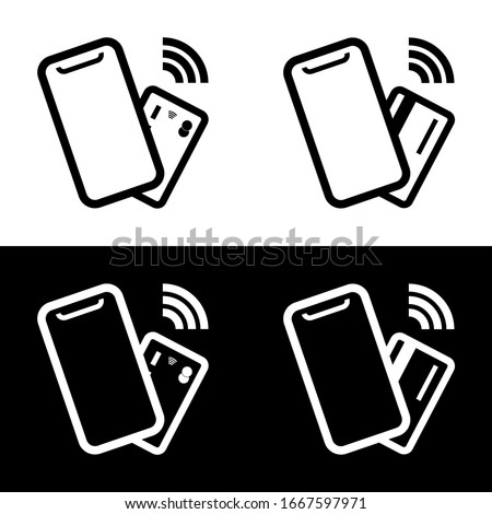 Contactless, wireless payment with credit plastic card, smartphone, POS terminal. NFC technology payment vector outline icon. Mobile pay sign. Vector illustration.