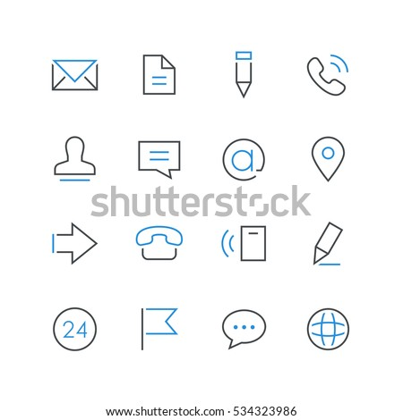 Contacts thin and colored outline icon set. Envelope, document, pencil, telephone, man, chat, email, address, arrow, flag and globe simple symbols on the white background.