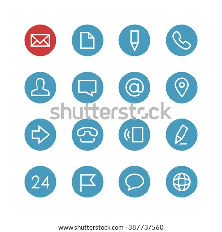 Contacts vector icon set - different symbols on a round blue background.