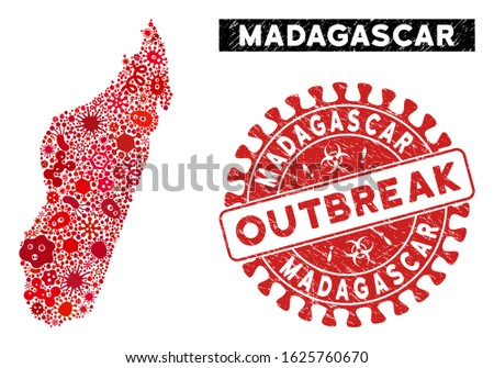 Contagion mosaic Madagascar Island map and red distressed stamp seal with OUTBREAK caption. Madagascar Island map collage formed with scattered microbe cell elements.