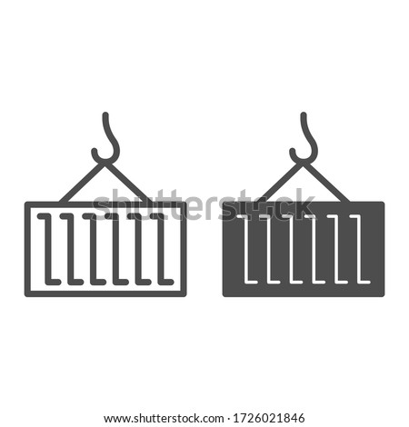 Container and hook line and solid icon, logistic and delivery symbol, Cargo container on crane hook vector sign on white background, lifting freight icon in outline style for mobile. Vector graphics