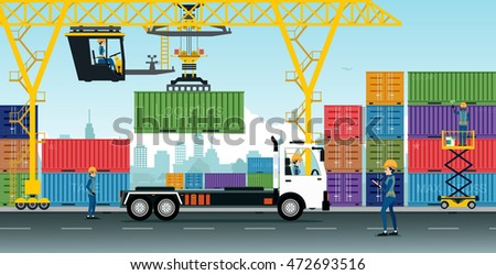Container Cranes have delivery trucks at the warehouse.