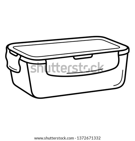 Container for food. Vector outline icon isolated on white background.