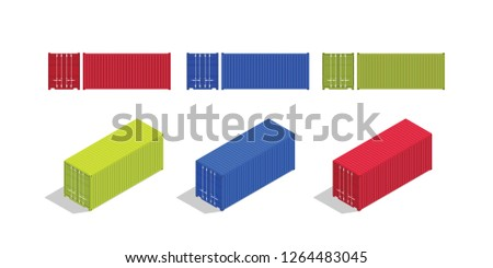 container isometric and from front set collection with various color vector illustration