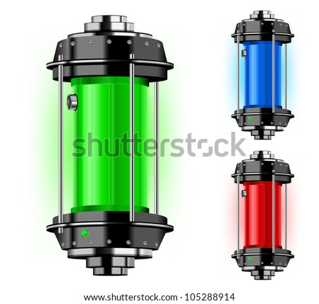Container of alternative energy in different color, vector illustration
