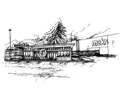 container take away restaurant design concept. Rough sketchy idea of a shipping container cafe exterior. Monochromatic ink freehand image. perspective illustration