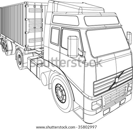 Container truck and trailer line drawing isolated on white background ...