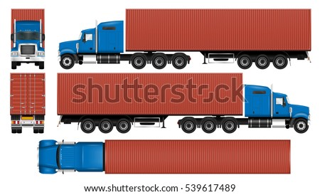Container truck vector mock-up. Isolated template of the lorry with trailer on white. Vehicle branding mockup. View from side, front, back and top. All elements in the groups on separate layers.