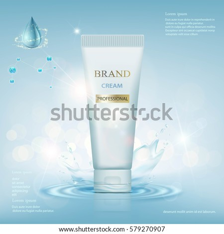 Container with cream on a background of water with a splash. Stock vector illustration