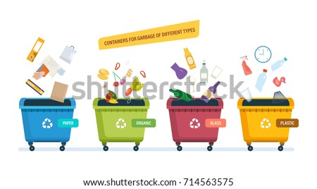 Containers for garbage of different types. Garbage cans  for paper products, food waste, glass and plastic waste. Recycle, recycled paper, food, waste. Vector illustration isolated