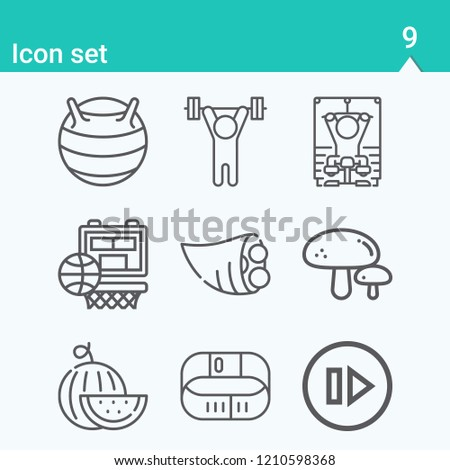 Contains such icons as cornucopia, watermelon, mushroom, lifting barbell, fitness bracelet, training apparatus, gymnastic ball, hoop and more.  1000x1000 pixel perfect.