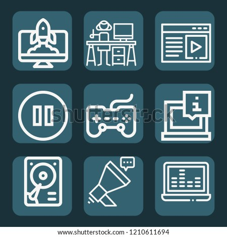Contains such icons as megaphone, graphic designer, startup, laptop, gamepad, hard disk, music and multimedia, multimedia and more.  1000x1000 pixel perfect.