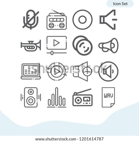 Contains such icons as woofer, trumpet, megaphone, radio, music and multimedia, rewind, mute, volume, low volume, wav, volume up, cymbals and more.  1000x1000 pixel perfect.