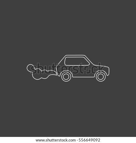 contamination Outline vector icon. Contour line white pictogram on black background. Illustration symbol