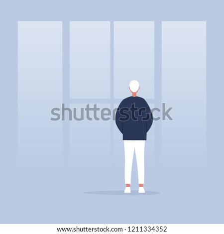 Contemplate. Meditate. Harmony. Young calm character looking through the window. Back view. Conceptual illustration, clip art
