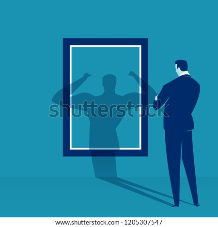 Contemplating about strength. Businessman watches his shadow and contemplating about victory. Business vector concept illustration