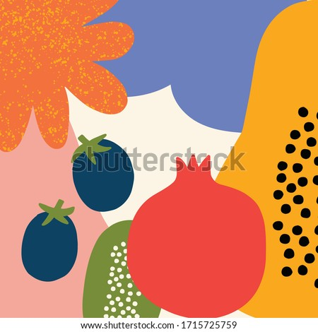 Contemporary abstract vector illustration. Colorful abstract fruits collage. Abstract botanical background. Hand-drawn vector graphics. Abstract nature background with fruits and flowers for prints.