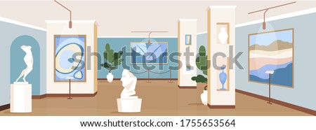 Contemporary art gallery flat color vector illustration. Painting exhibits for excursion. Modern masterpiece showcase. Cultural museum 2D cartoon interior with artwork installations on background Сток-фото ©