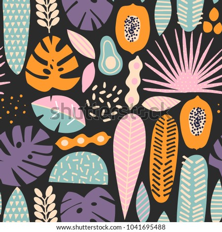 Contemporary exotic jungle fruits and plants seamless pattern in vector
