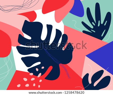 Contemporary floral seamless pattern. Modern exotic jungle fruits and plants illustration in vector - Vector