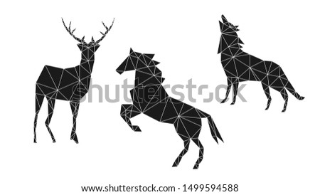 Contemporary geometric image of a deer, horse and wolf from triangles on a white background. Minimalism in the style of trigonometry.
