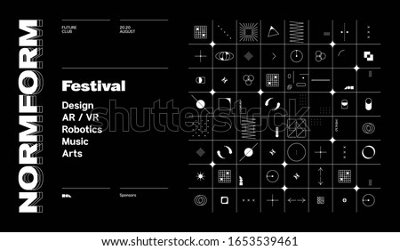 Contemporary graphic design of event vector cover mockup created in modernism and minimalistic brutalism style, useful for poster art, magazine front page, decorative print, web banner artwork.