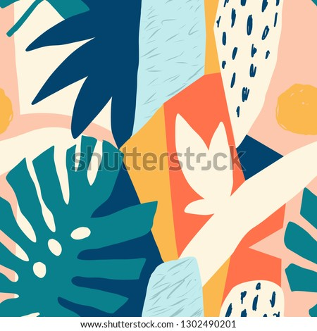 Contemporary hawaiian Collage floral seamless pattern. Modern exotic jungle fruits and plants illustration in vector.
