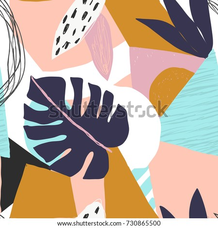 Contemporary hawaiian floral seamless pattern. Modern exotic jungle fruits and plants illustration in vector