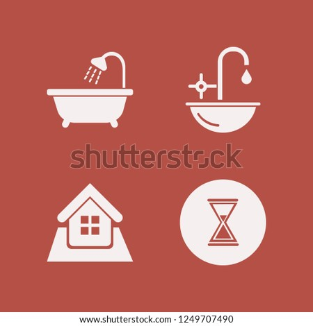 contemporary icon. contemporary vector icons set bathroom shower, home, sink and hourglass