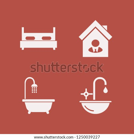 contemporary icon. contemporary vector icons set house seller, sink, double bed and bathroom shower