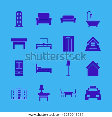 contemporary icon. contemporary vector icons set taxi cab, home, nightstand and office building