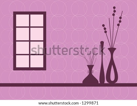 Contemporary interior silhouettes. Fully editable vector illustration.
