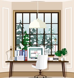 Contemporary room workplace with large window and laptop on table at home. Office room interior set. Flat style vector illustration.