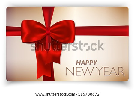 Contemporary solid Happy New Year card with red bow and red ribbon. Vector illustration.