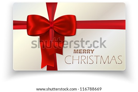 Contemporary solid Merry Christmas card with red bow and red ribbon. Vector illustration.