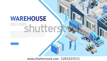 Contemporary vector design of webpage with modern warehouse delivery system presentation