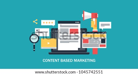 Content based marketing - digital content - Social media advertising flat vector conceptual banner with icons
