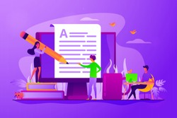 Content creating, articles, text writing and editing remote job. Inbound marketing. Copywriting job, home based copywriter, freelance copywriting concept. Vector isolated concept creative illustration