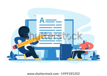 Content creating, articles, text writing and editing remote job. Inbound marketing. Copywriting job, home based copywriter, freelance copywriting concept. Vector isolated concept creative illustration Foto d'archivio ©