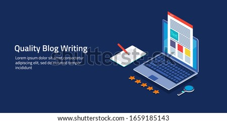 Content creation, content writing, quality content production, evergreen content - conceptual isometric 3d, vector illustration