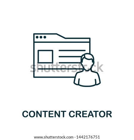 Content Creator outline icon. Thin line concept element from content icons collection. Creative Content Creator icon for mobile apps and web usage.