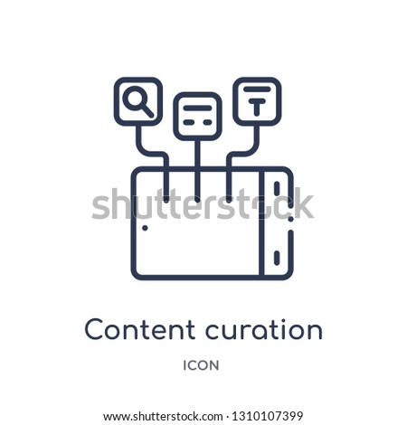 content curation icon from technology outline collection. Thin line content curation icon isolated on white background.
