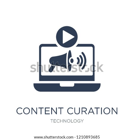 Content curation icon. Trendy flat vector Content curation icon on white background from Technology collection, vector illustration can be use for web and mobile, eps10